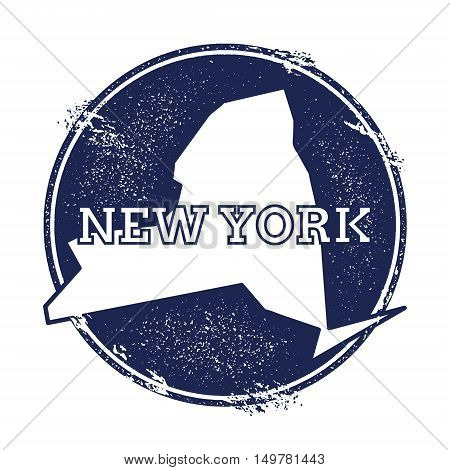 New York Vector Map. Grunge Rubber Stamp With The Name And Map Of New York, Vector Illustration. Can