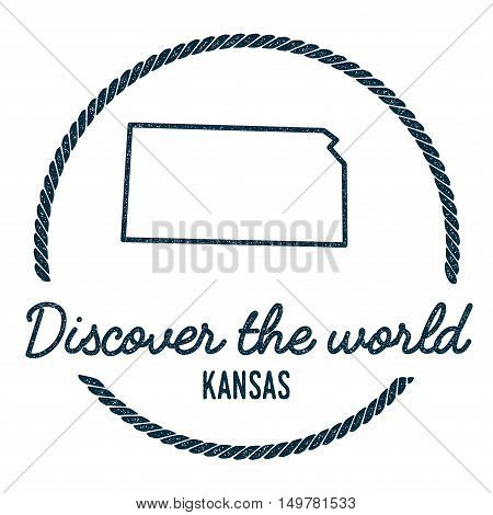 Kansas Map Outline. Vintage Discover The World Rubber Stamp With Kansas Map. Hipster Style Nautical