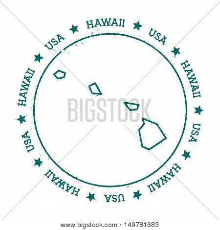 Hawaii Vector Map. Retro Vintage Insignia With Us State Map. Distressed Visa Stamp With Hawaii Text