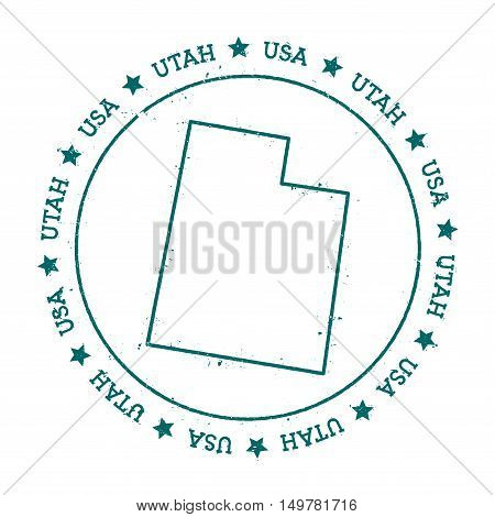 Utah Vector Map. Retro Vintage Insignia With Us State Map. Distressed Visa Stamp With Utah Text Wrap