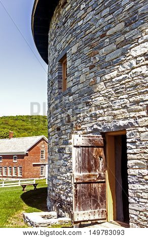 Old stone barn in the shaker village.