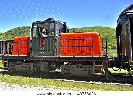 Old locomotive makes its way on the Berkshire Scenic Railroad. Lenox, USA.