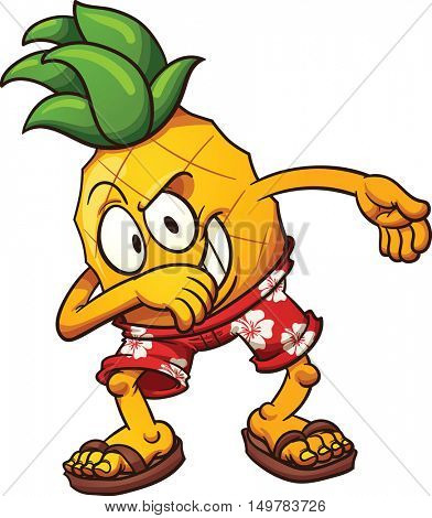 Dabbing Hawaiian Pineapple. Vector clip art illustration with simple gradients. All in a single layer.