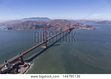 Aerial of the Golden Gate Bridge, Fort Point and Marin Headlands near San Francisco, California.