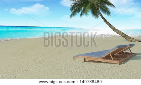 Summer beach lounge with chairs by a jetty on a tropical idyllic beach and sea with cloud sky background-3D rendering
