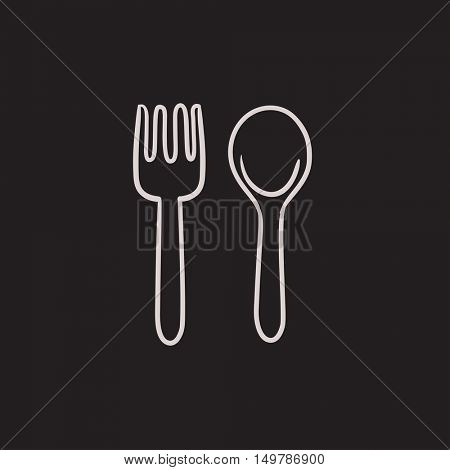 Spoon and fork vector sketch icon isolated on background. Hand drawn Spoon and fork icon. Spoon and fork sketch icon for infographic, website or app.