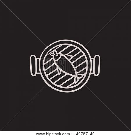 Fish on grill vector sketch icon isolated on background. Hand drawn Fish on grill icon. Fish on grill sketch icon for infographic, website or app.