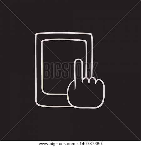 Finger pointing at tablet vector sketch icon isolated on background. Hand drawn Finger pointing at tablet icon. Finger pointing at tablet sketch icon for infographic, website or app.