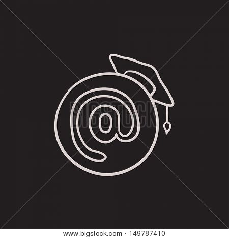 Graduation cap with at sign vector sketch icon isolated on background. Hand drawn Graduation cap with at sign icon. Graduation cap with at sign sketch icon for infographic, website or app.