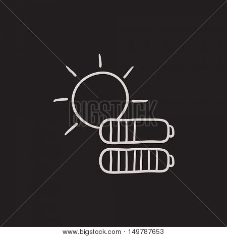 Solar energy vector sketch icon isolated on background. Hand drawn Solar energy icon. Solar energy sketch icon for infographic, website or app.