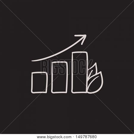 Bar graph with leaf vector sketch icon isolated on background. Hand drawn Bar graph with leaf icon. Bar graph with leaf sketch icon for infographic, website or app.