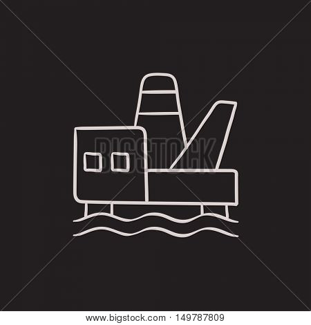 Offshore oil platform vector sketch icon isolated on background. Hand drawn Offshore oil platform icon. Offshore oil platform sketch icon for infographic, website or app.