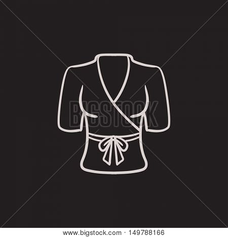 Short female bathrobe vector sketch icon isolated on background. Hand drawn Short female bathrobe icon. Short female bathrobe sketch icon for infographic, website or app.