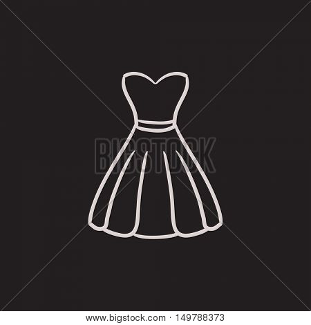 Dress vector sketch icon isolated on background. Hand drawn Dress icon. Dress sketch icon for infographic, website or app.
