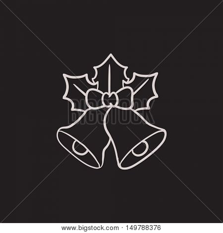 Christmas bells vector sketch icon isolated on background. Hand drawn Christmas bells icon. Christmas bells sketch icon for infographic, website or app.