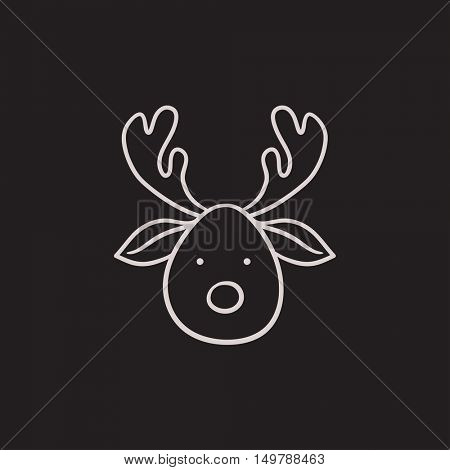 Christmas deer vector sketch icon isolated on background. Hand drawn Christmas deer icon. Christmas deer sketch icon for infographic, website or app.