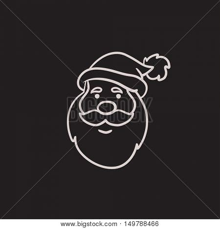 Santa Claus face vector sketch icon isolated on background. Hand drawn Santa Claus face icon. Santa Claus face sketch icon for infographic, website or app.