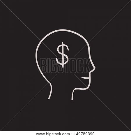 Head with dollar symbol  vector sketch icon isolated on background. Hand drawn Head with dollar symbol  icon. Head with dollar symbol  sketch icon for infographic, website or app.