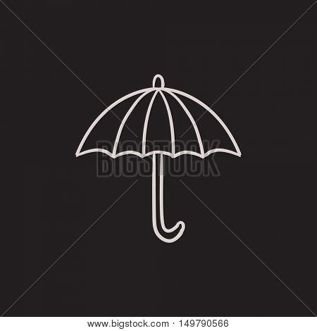 Umbrella sketch icon for web, mobile and infographics. Hand drawn umbrella icon. Umbrella vector icon. Umbrella icon isolated on white background.
