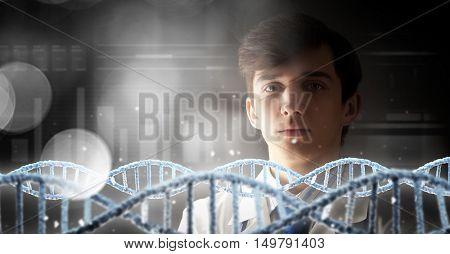 Genetics and medicine concept . Mixed media