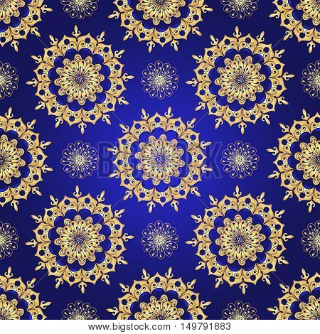 Vintage blue seamless pattern with gradient golden flowers vector