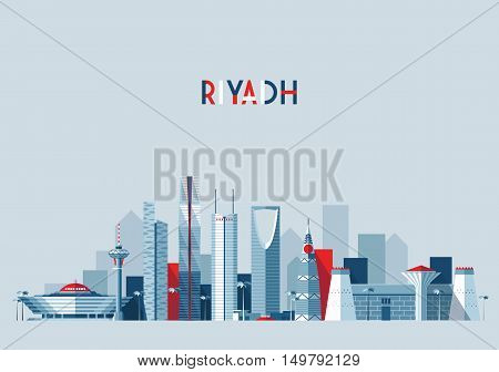 Riyadh skyline, vector illustration, flat design style