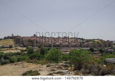 Panoramic View Of  Walls And Tower Of The Historic City Of Avila, Castilla Y Leon, Spain