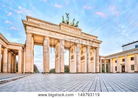 Brandenburg Gate With The Sunrise In Berlin, Germany