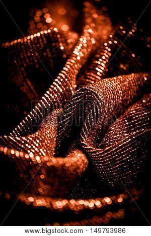 draped lurex fabric - warm copper colorspace