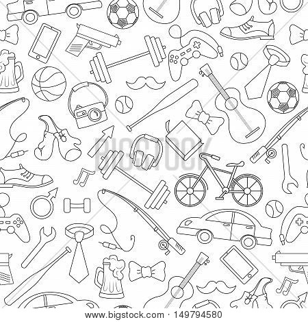 Seamless pattern on the theme of male Hobbies and habitssimple hand-drawn contour icons on white background