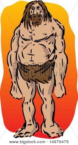 Caveman illustration, sketch of brutish muscular primitive man