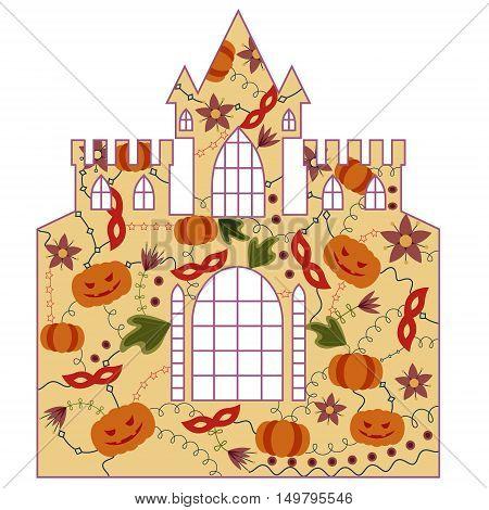 vector silhouette, stencil, template halloween castle retro
