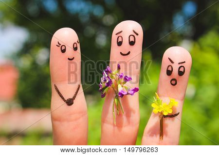 Finger art. Men give flowers flowers to a woman.