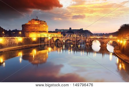 Rome - Castel saint Angelo Italy at sunset