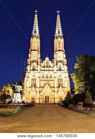 St. Florian's Cathedral in Warsaw at night