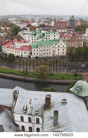 View of the old city from the Olaf tower of the Vyborg Castle