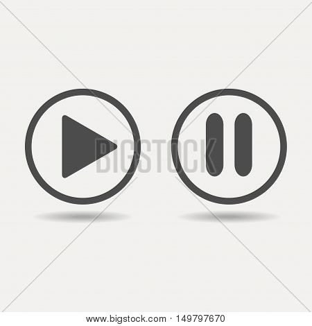 Play and pause buttons icon. Vector icon on white background