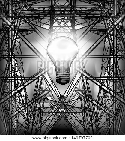 Electricity pylons, Power lines, the burning bulb. 3D illustration