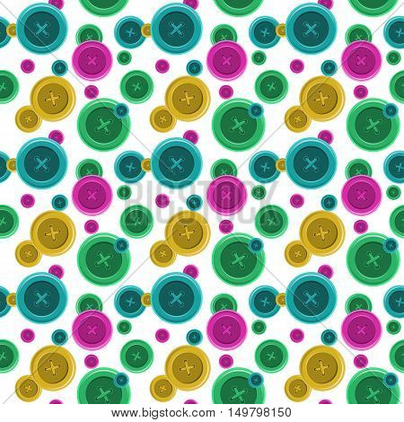 Buttons sewing seamless pattern, button shirt clothing vector illustration with  isolated object
