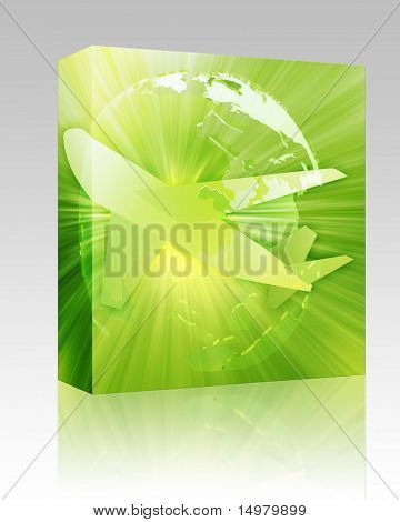 Software package box International air travel, airplane over globe Asia Pacific