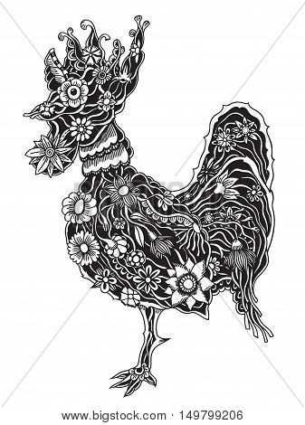 Hand drawn doodle outline rooster illustration. Decorative abstract floral ornate rooster drawing. Adult colouring bird. Stylized flower cartoon rooster or cock for colouring and drawing.