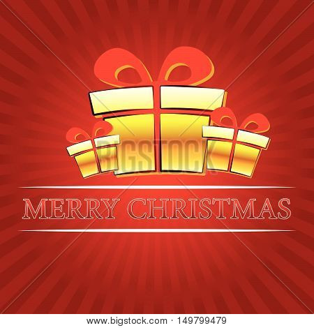 merry christmas - text with golden gift boxes signs over red rays, vector