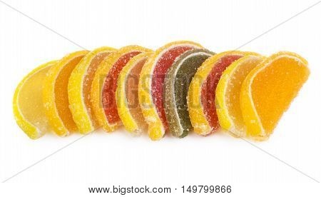 Row Of Marmalade In Form Of Citrus Fruits On White