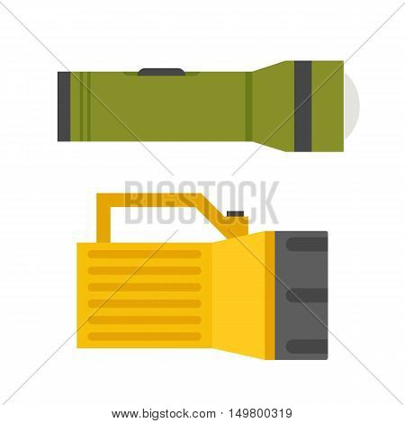 Tourist flashlight vector illustration. Handle lighter icon.