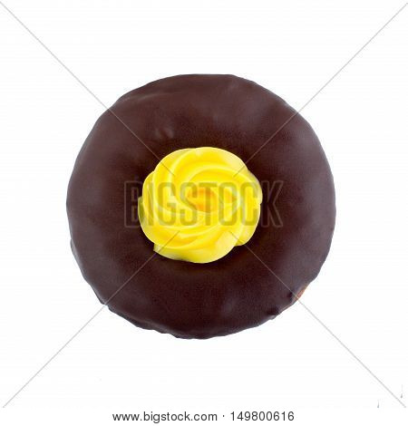 Doughnut bathed in liquid chocolate cream isolated on white background top view