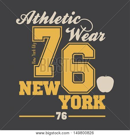 New York City Typography Graphics. Vector illustration. Print for sportswear apparel. New York City logo with apple for t-shirt print. Vector illustration