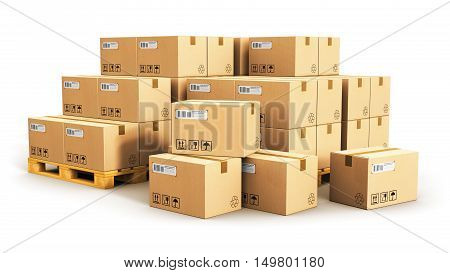 3D render illustration of the group of stacked corrugated cardboard boxes on wooden shipping pallets isolated on white background