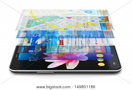 3D render illustration of modern metal black glossy touchscreen smartphone or mobile phone with group of colorful application screen interfaces with color icons and buttons isolated on white background