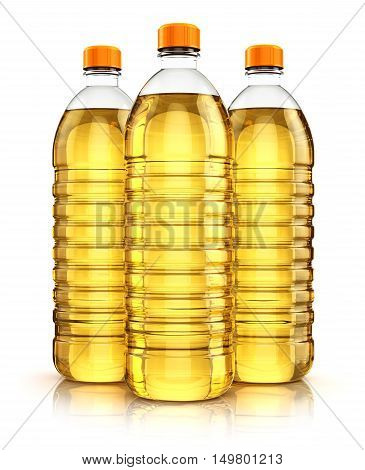 3D render illustration of group of three plastic bottles with yellow refined vegetable cooking oil or organic fat isolated on white background with reflection effect