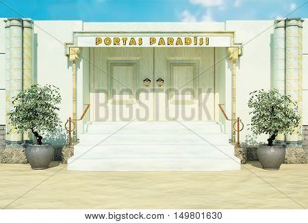 Bible gate in paradise. Idea of bible paradise. 3D illustration